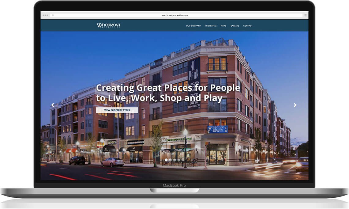 Woodmont website homepage redesign