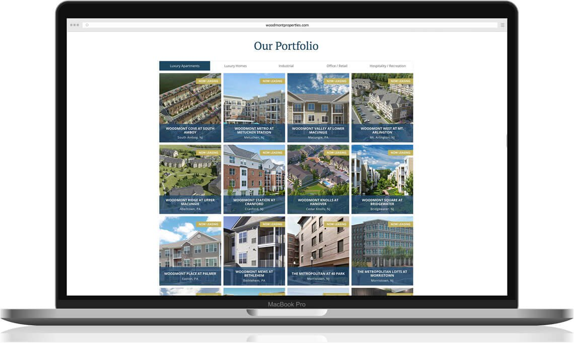 Woodmont website portfolio redesign