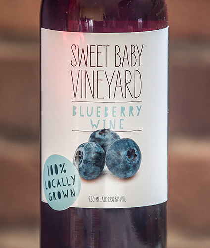 blueberry wine label by Sweet Baby Vineyard